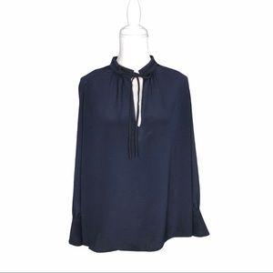 Derek Lam silk tie-neck blouse navy blue black